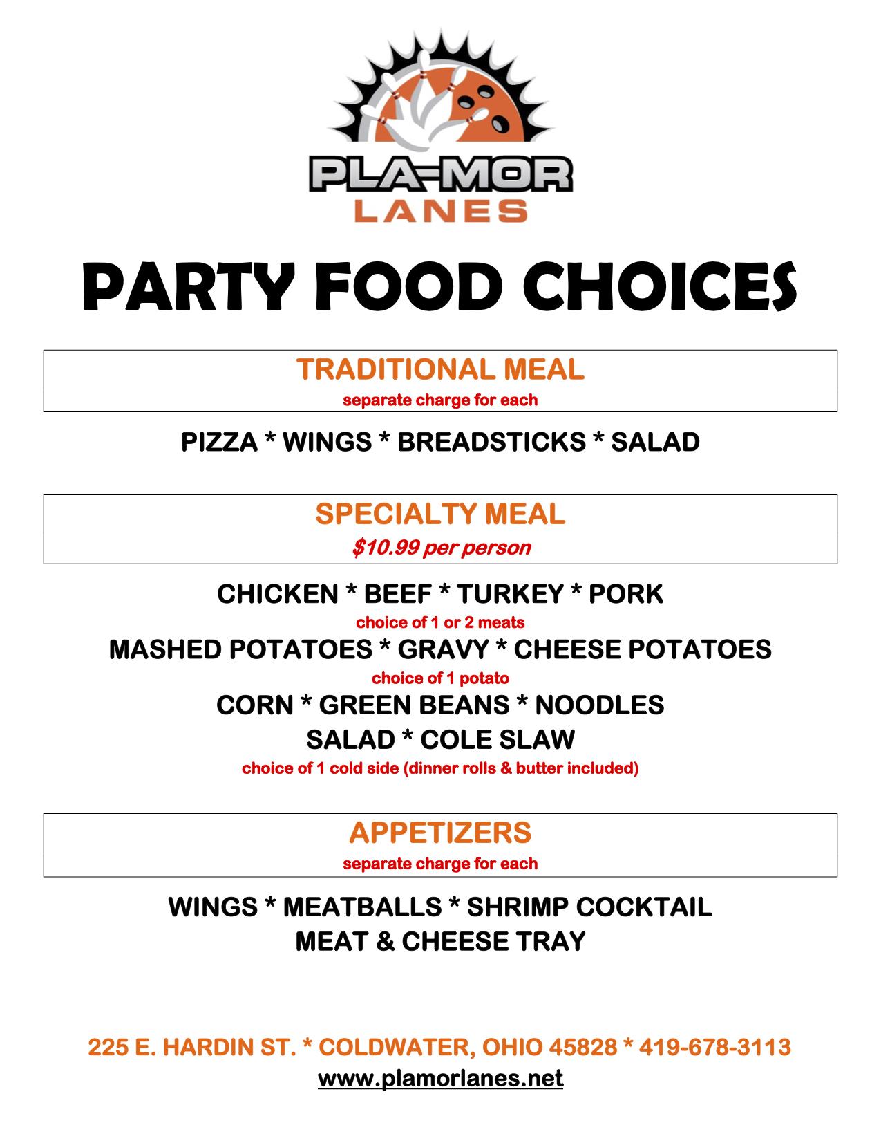 Food Menu for Corporate Parties